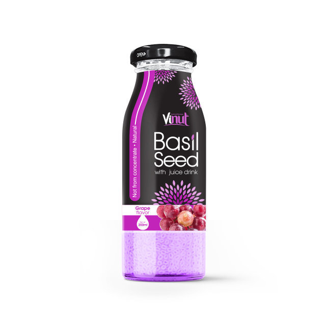 200ml_Glass_Bottle_Basil_seed_with_Grape_flavor